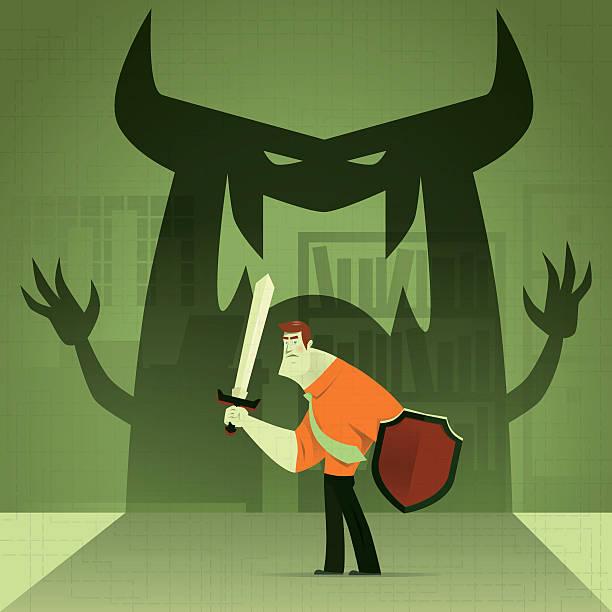 businessman defending vector illustration of businessman defending monster… focus on shadow stock illustrations
