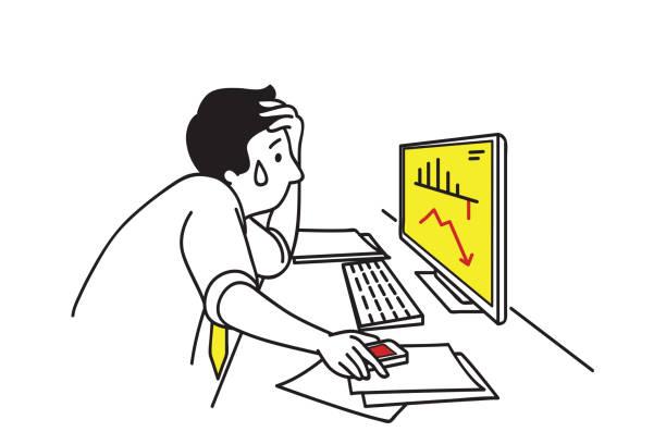 グラフに落ちて落ち込んでいるビジネスマン - 不安点のイラスト素材/クリップアート素材/マンガ素材/アイコン素材