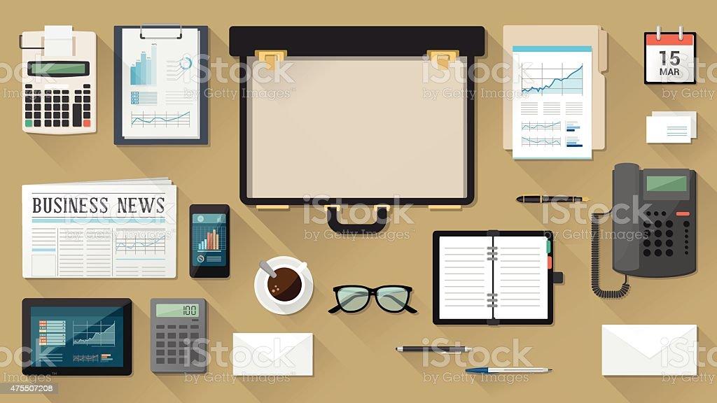 Geschäftsmann mit Aktenkoffer desktop – Vektorgrafik