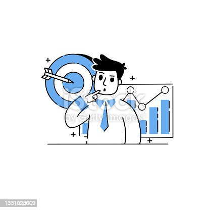 istock Businessman develops financial business strategy. Trading shares on stock exchange. Male investor. Happy character and business. Growth Chart. Outline cartoon 1331023609