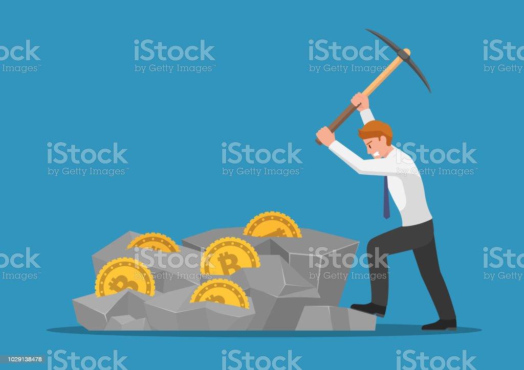 Affärsman gräva bitcoin i berget - Royaltyfri Affärsman vektorgrafik