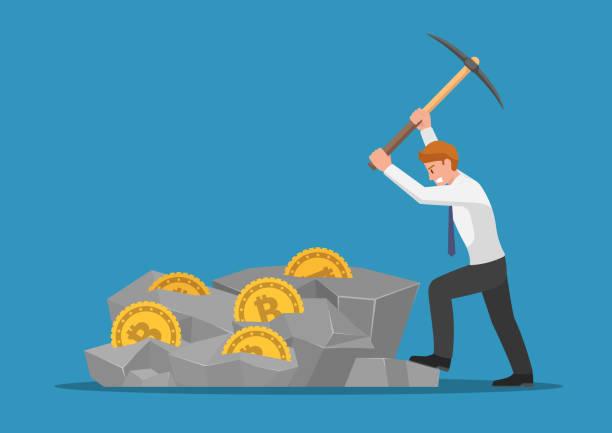 stockillustraties, clipart, cartoons en iconen met zakenman graven bitcoin in de rots - bitcoin