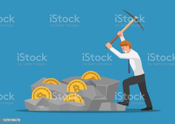 Affärsman Gräva Bitcoin I Berget-vektorgrafik och fler bilder på Affärsman