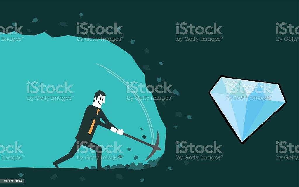 Businessman digging to find diamond vector art illustration