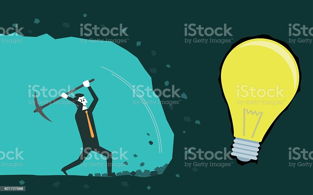 Businessman digging to find idea. vector art illustration
