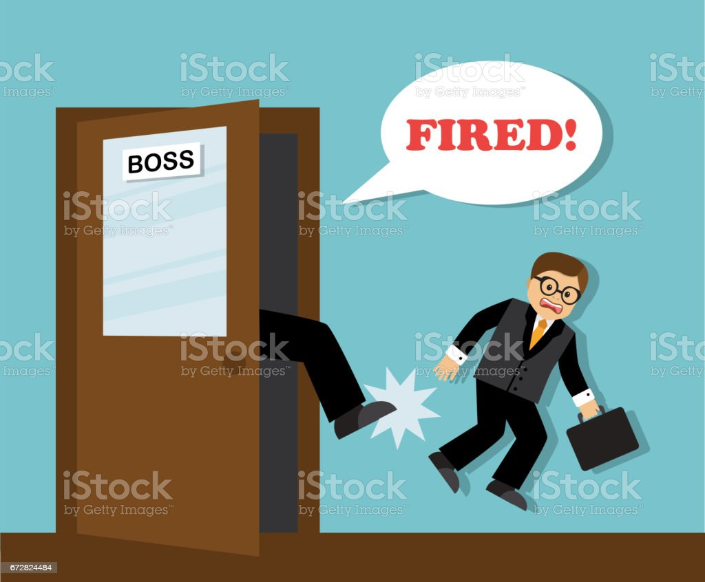 Businessman dismissed from work vector art illustration