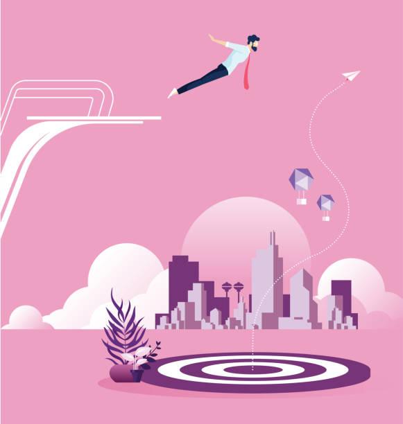 ilustrações de stock, clip art, desenhos animados e ícones de businessman dive to a target from springboard to achieve his goal - jump pool, swimmer