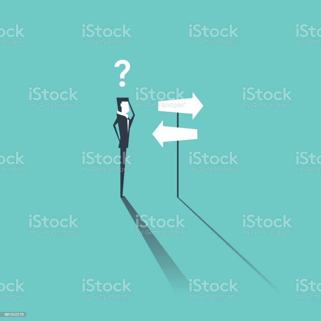 Businessman do not know where to go, Left or Right. Business concept vector art illustration