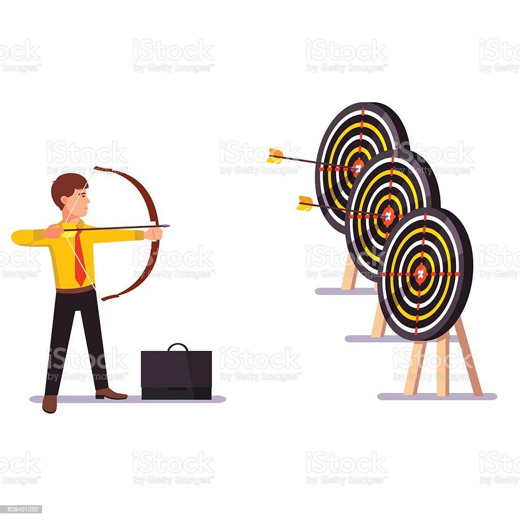 Businessman doing a hit arrow target practice vector art illustration