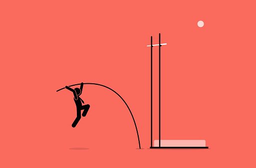Businessman doing pole vault.