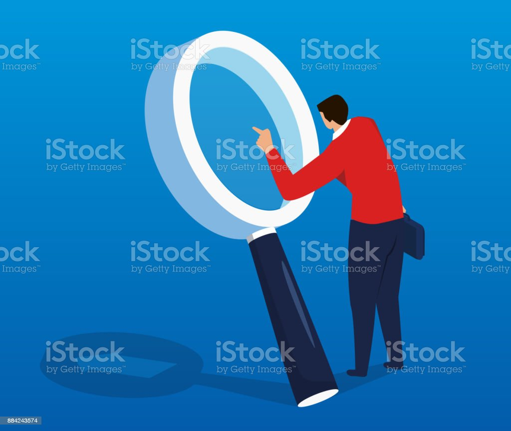 Businessman doing research with a magnifying glass vector art illustration