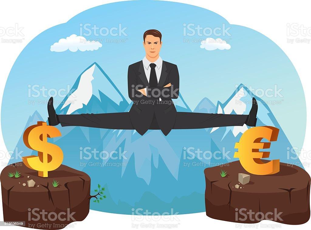 Businessman doing splits vector art illustration