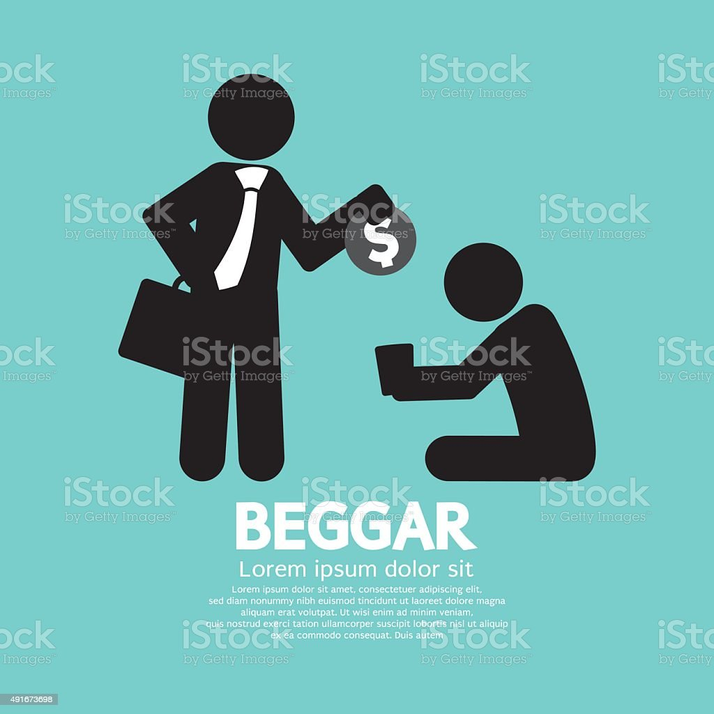 Businessman Donates Coin To The Beggar. vector art illustration
