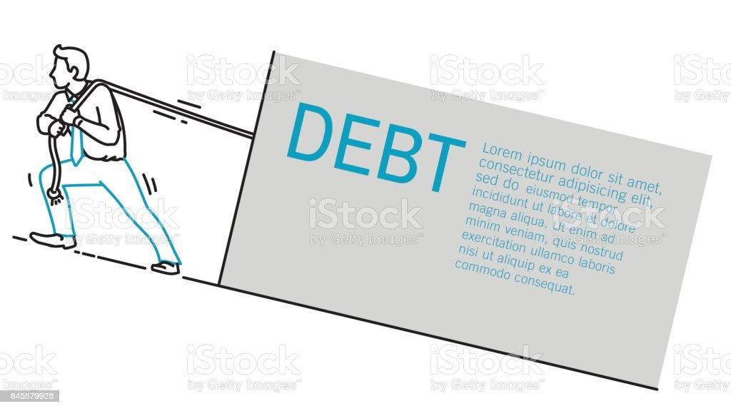 businessman drag up problems vector art illustration