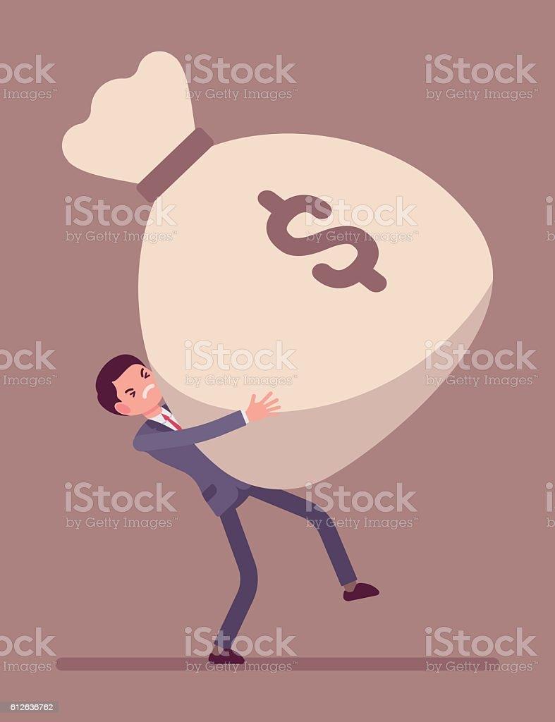 Businessman dragging a giant money sack vector art illustration