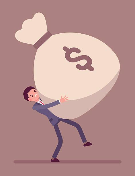 illustrazioni stock, clip art, cartoni animati e icone di tendenza di businessman dragging a giant money sack - portare