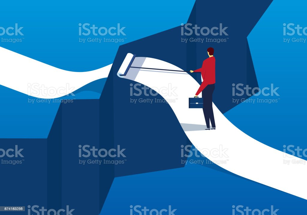 Businessman draw bridge crossing the gorge vector art illustration