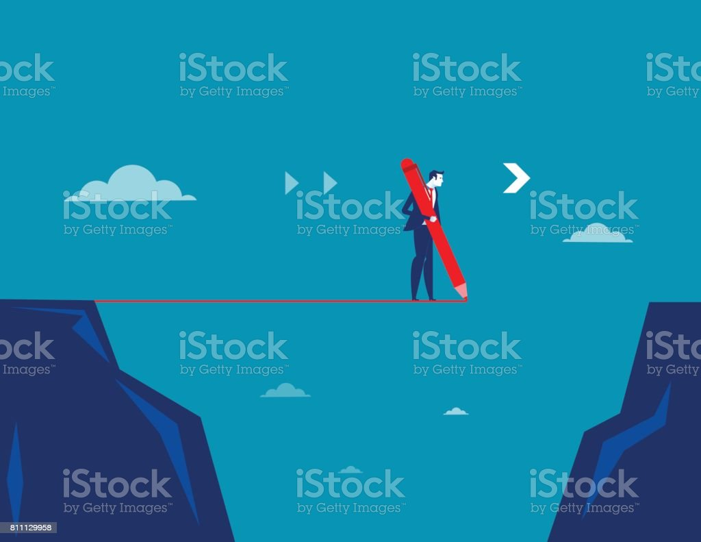 Businessman draw line with pencil. Concept business vector. vector art illustration