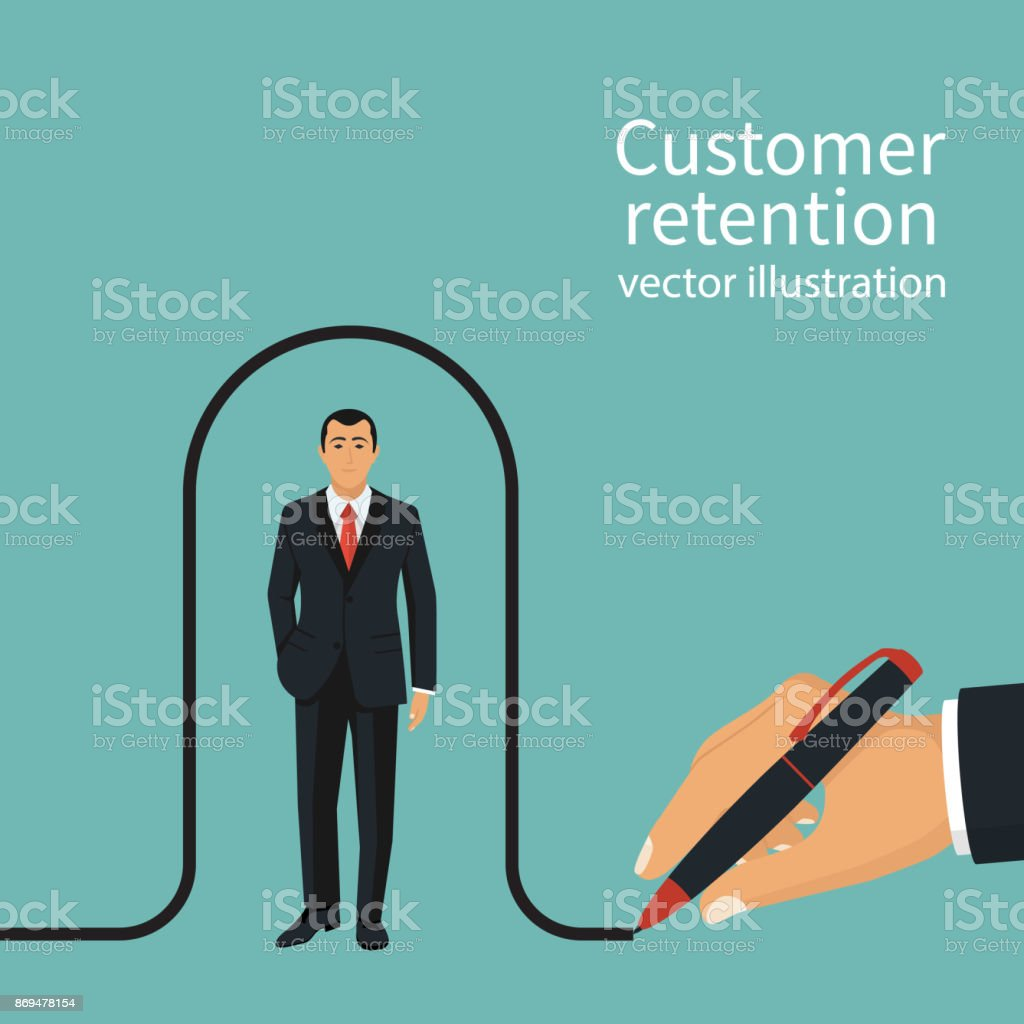 Businessman draws a line covering the client vector art illustration