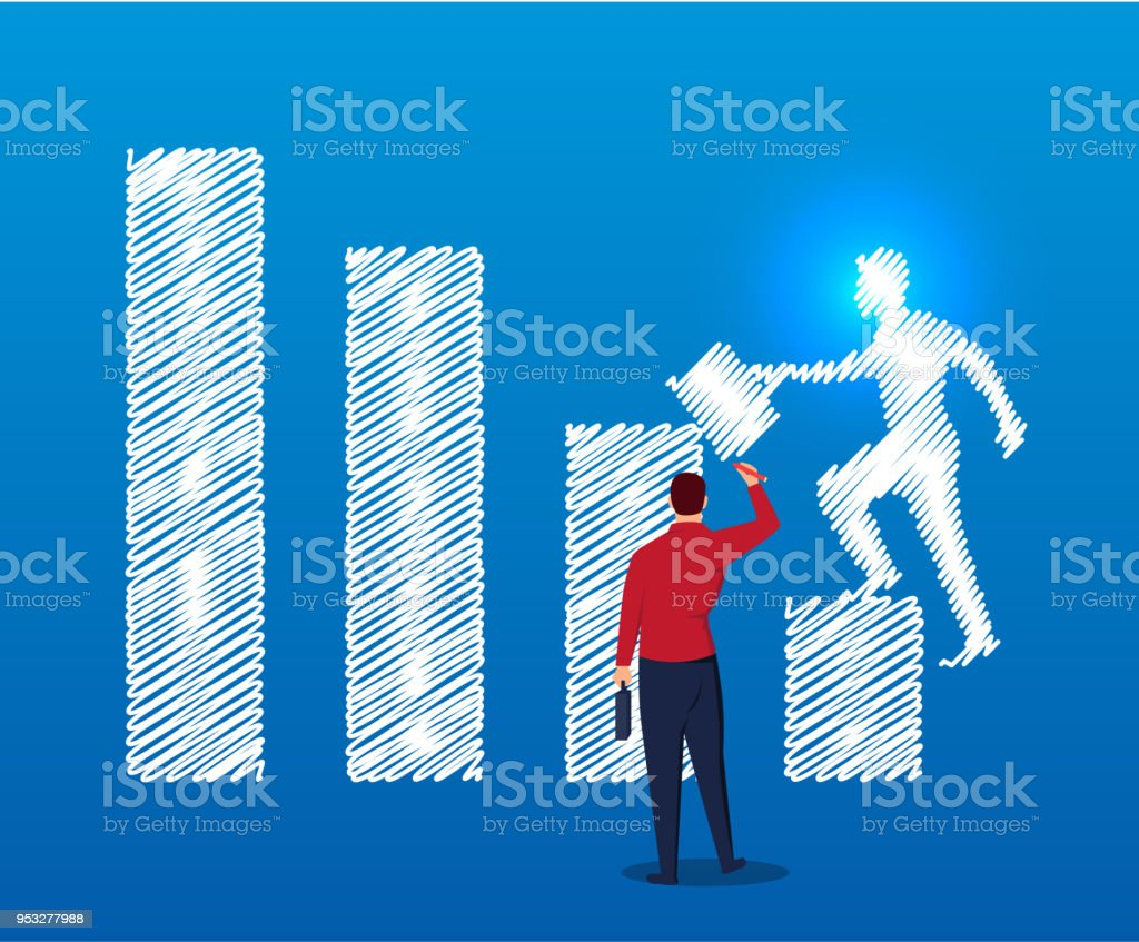 Businessman Draws A Person Climbing A Bar Chart Stock Vector