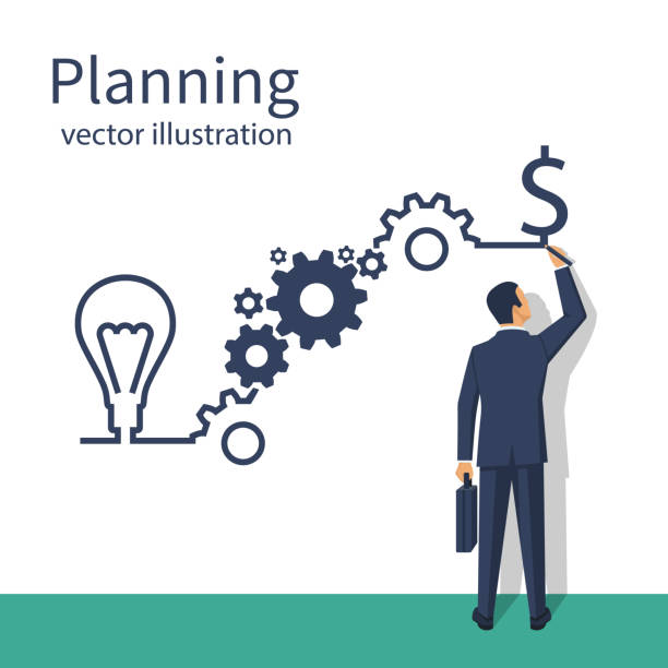 businessman draws business strategy - financial planning stock illustrations, clip art, cartoons, & icons