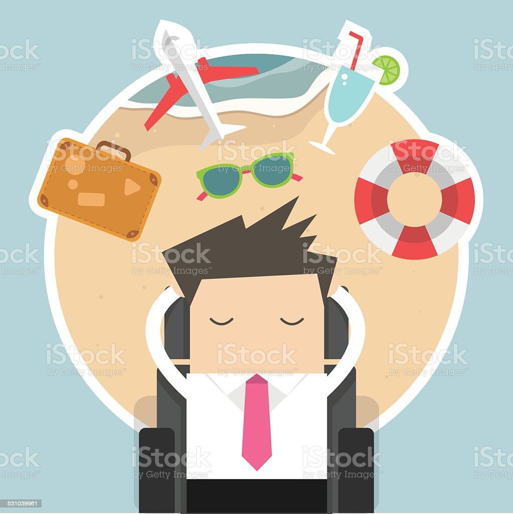 Businessman dreaming about his vacation vector art illustration