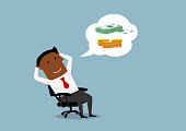 Relaxing african american businessman dreaming about money and wealth in office. Cartoon style