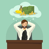 Vector illustration of businessman dreaming about money and wealth while relaxing at his workplace.