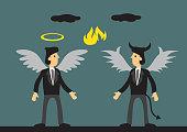 Businessman Dressed as Angel and Devil Vector Illustration