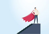 Businessman dressed as superhero vector concept. Symbol of power, strength, leadership, success, vision. Eps10 vector illustration. A new business for web page banner presentation social media