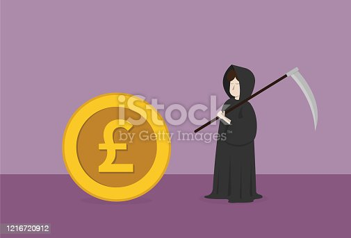 istock Businessman dresses grim reaper costume and UK pound coin 1216720912
