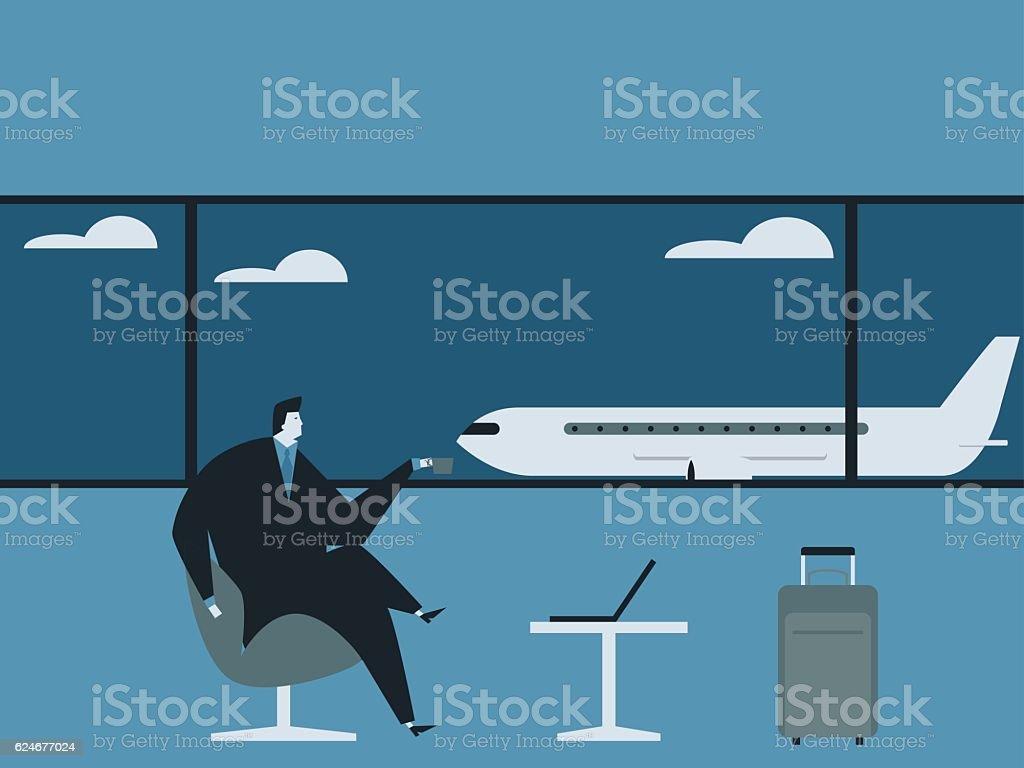 Businessman drink coffee using a laptop. ベクターアートイラスト