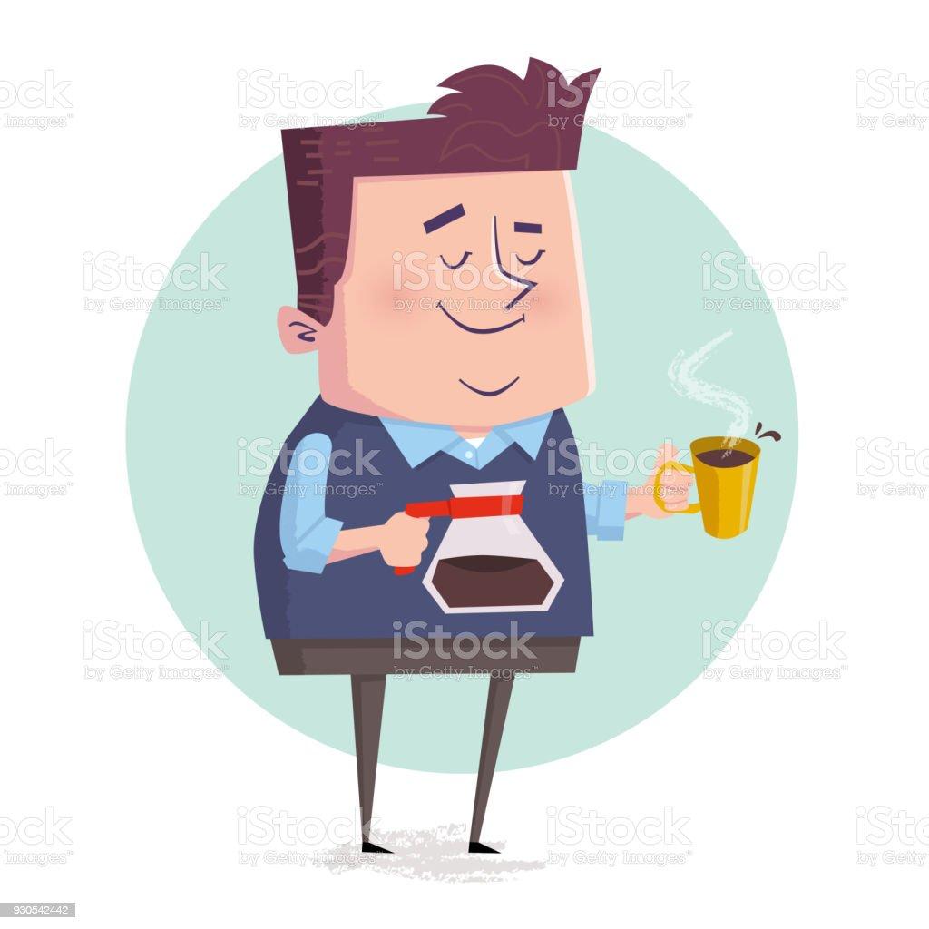 Geschäftsmann Trinken Kaffee Während Der Pause Stock Vektor Art und ...