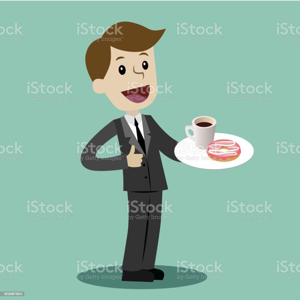 Geschäftsmann Trinken Kaffee Mit Donat In Der Pause ...