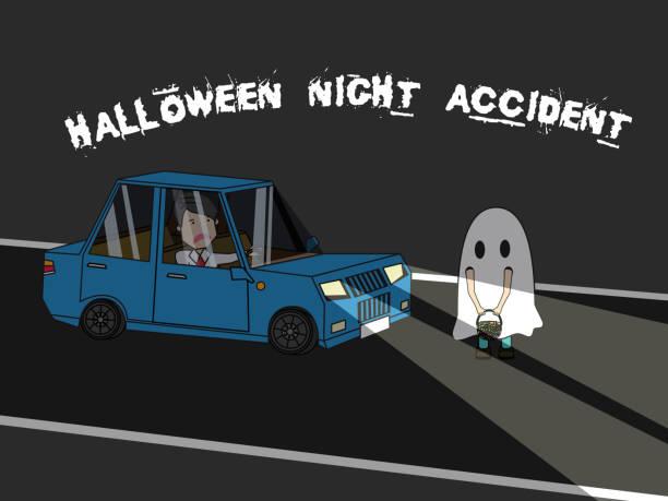 illustrations, cliparts, dessins animés et icônes de homme d'affaires voiture frappe halloween costume enfants - voiture nuit