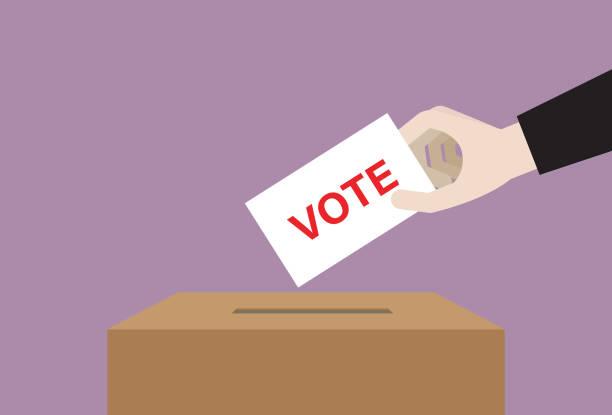 ilustrações, clipart, desenhos animados e ícones de empresário derruba cédula em uma caixa para votação eleitoral - desenhos aleatórios e à mão livre