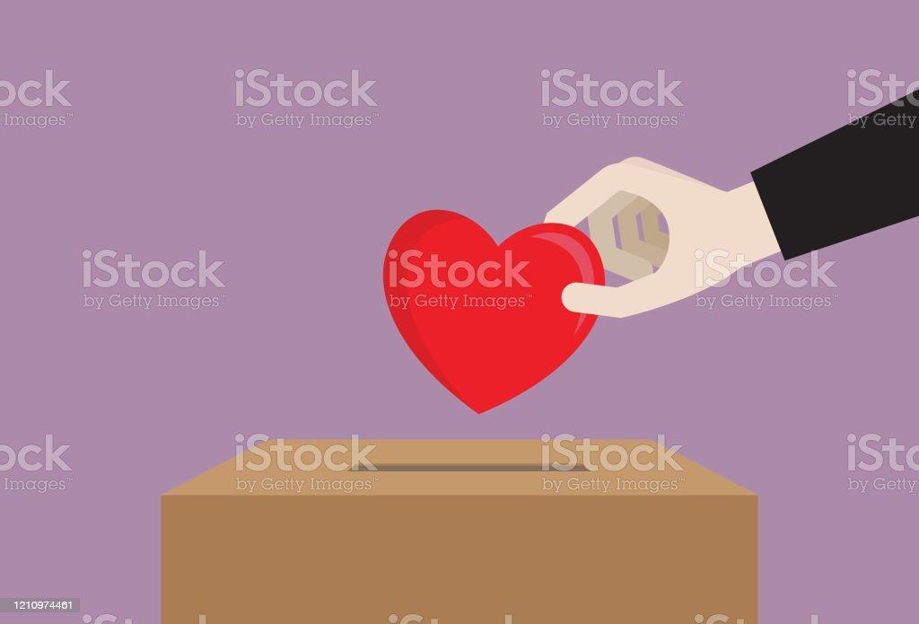 Empresario deja caer un corazón en una caja de donación - arte vectorial de Agente de servicio al cliente libre de derechos