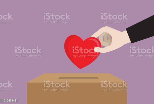 Ilustración de Empresario Deja Caer Un Corazón En Una Caja De Donación y más Vectores Libres de Derechos de Agente de servicio al cliente