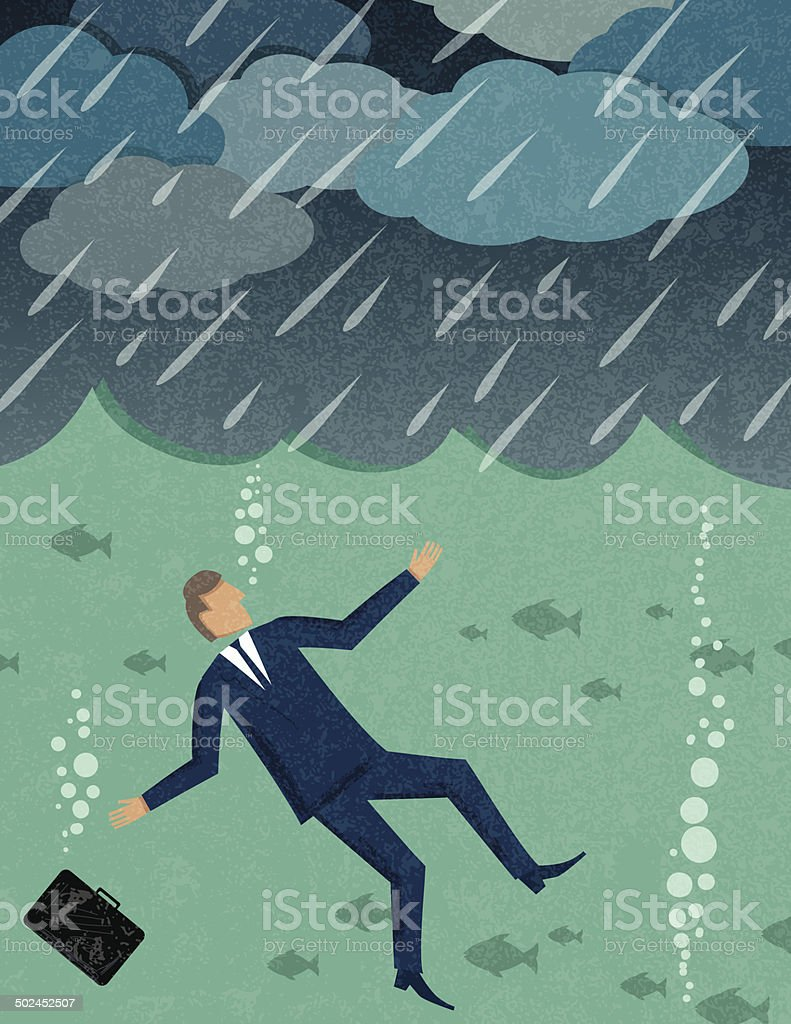 Businessman Drowning royalty-free stock vector art