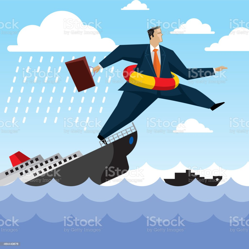 Businessman dying in sea vector art illustration