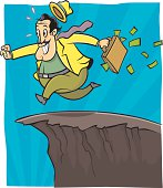 Businessman Eagerly Runs Off Cliff