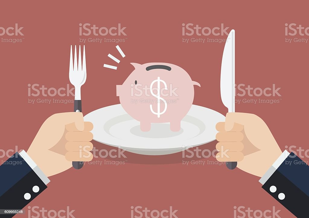 Businessman eating piggy bank vector art illustration