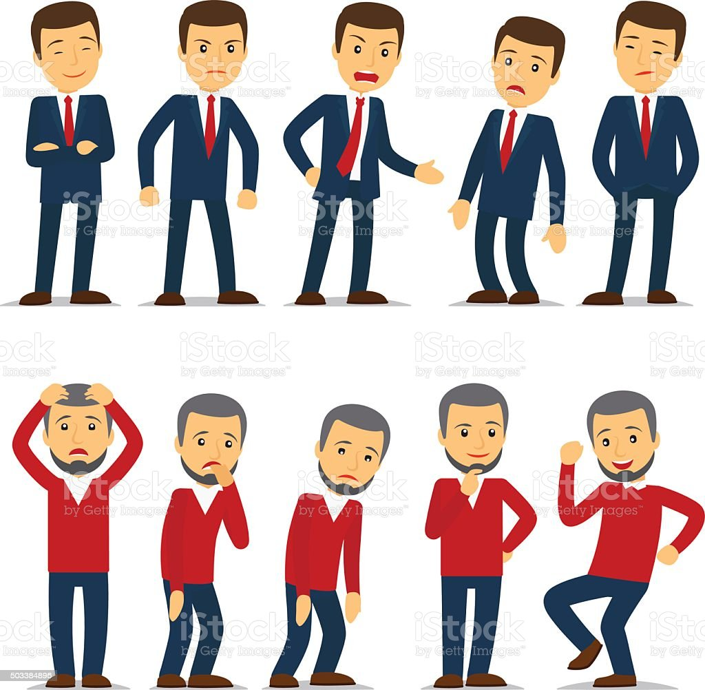 Businessman emotions vector vector art illustration