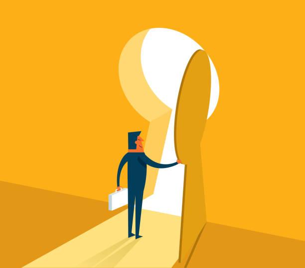 illustrazioni stock, clip art, cartoni animati e icone di tendenza di businessman entering keyhole - opportunità
