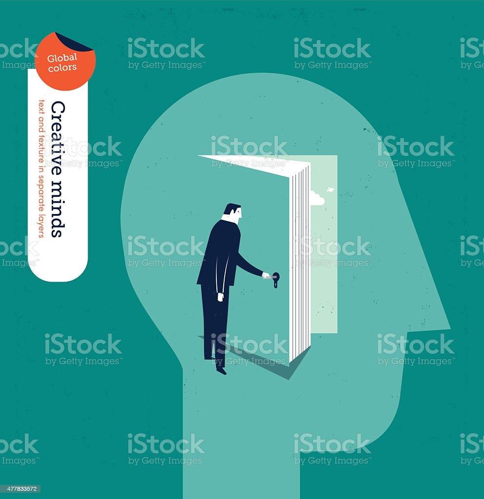 Businessman entering someone's mind through a book vector art illustration
