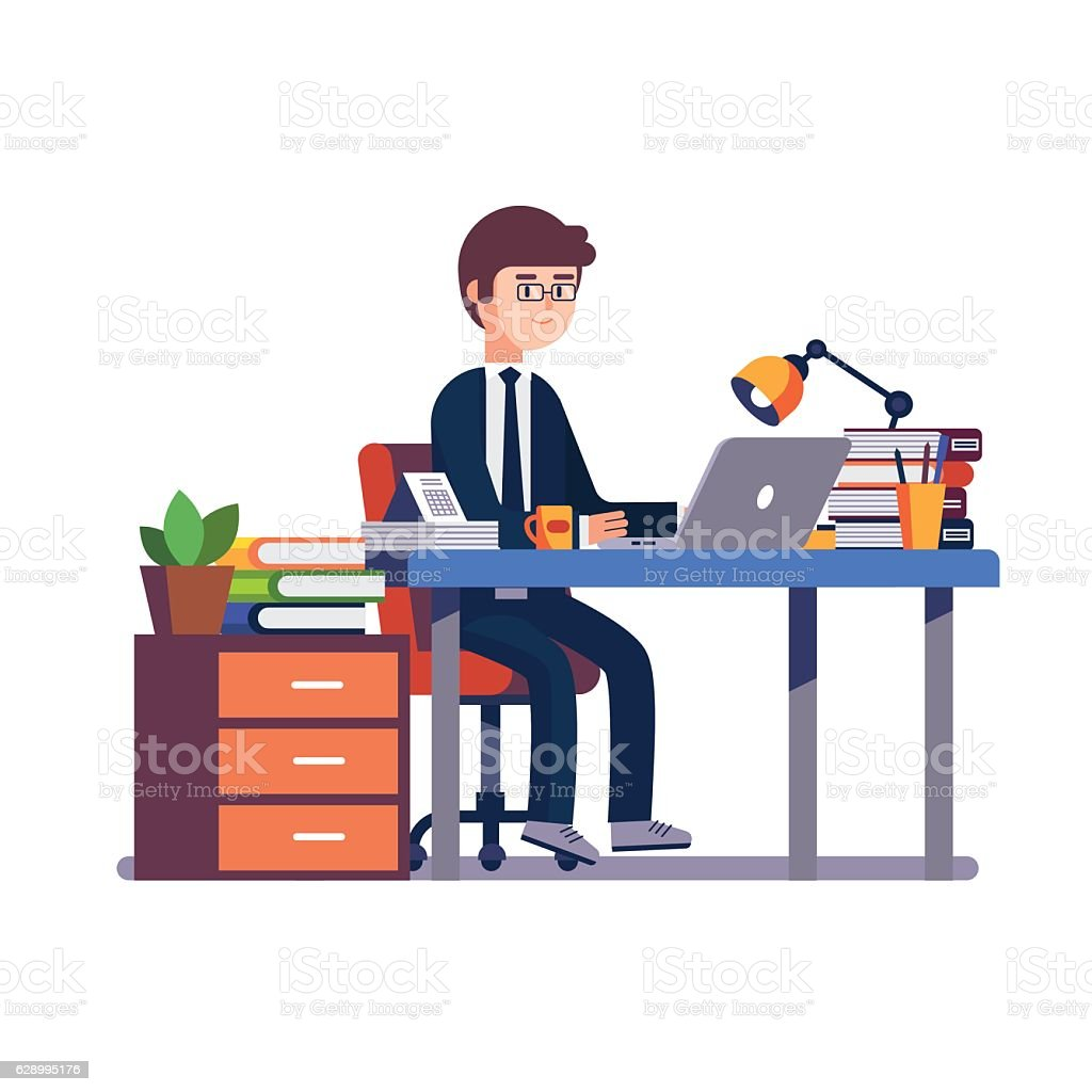businessman entrepreneur working at office desk stock vector art more images of adult. Black Bedroom Furniture Sets. Home Design Ideas