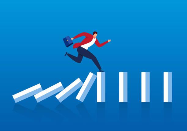 Businessman escapes the domino effect Businessman escapes the domino effect escaping stock illustrations