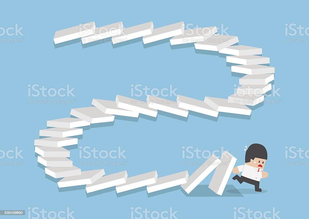 Businessman escaping from falling dominos vector art illustration