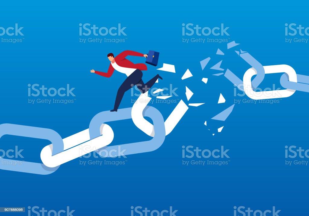 Businessman escaping the broken chain vector art illustration