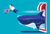 vector illustration of businessman e-shopping with smartphone and shark